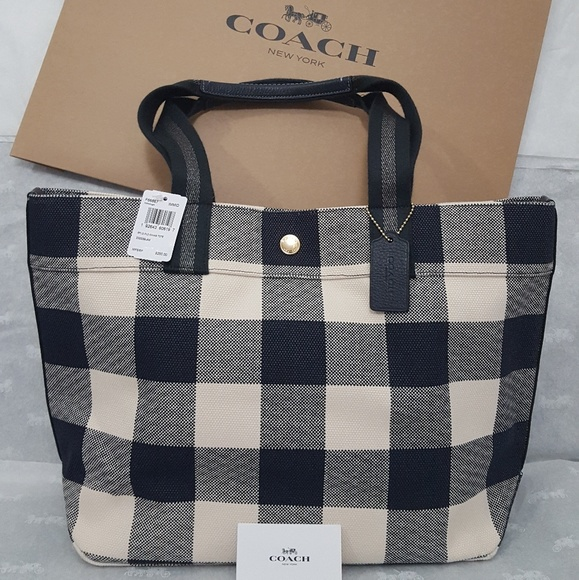 513e8265e4 COACH TOTE WITH BUFFALO PLAID PRINT NWT